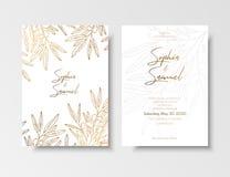 婚礼葡萄酒邀请,保存日期卡片用金黄莓果并且分支海鼠李 植物典雅的金子 库存图片
