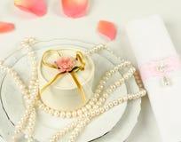 婚礼表的装饰 免版税库存图片
