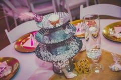 婚礼表装饰 免版税库存照片