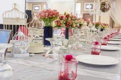 婚礼表设置 免版税图库摄影