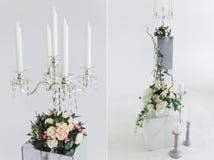 婚礼被设置的花的布置 免版税库存图片