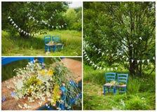 婚礼装饰三张照片拼贴画  免版税库存照片