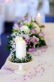 婚礼装饰桌 免版税库存图片