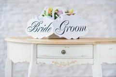婚礼装饰他制表的ont 库存图片
