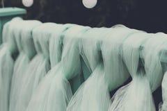 婚礼装饰细节,绿松石帷幕 库存照片