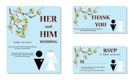 婚礼请帖,保存日期,谢谢,rsvp模板 新娘和新郎剪影 向量例证