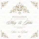 婚礼邀请与花卉和古色古香的装饰元素的葡萄酒卡片 也corel凹道例证向量 库存照片