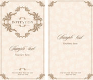 婚礼邀请与花卉和古色古香的装饰元素的葡萄酒卡片 免版税库存图片