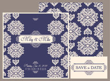 婚礼邀请与花卉和古色古香的装饰元素的葡萄酒卡片 免版税库存照片