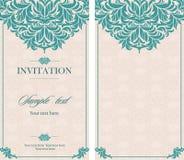 婚礼邀请与花卉和古色古香的装饰元素的葡萄酒卡片 库存图片