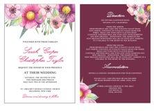 婚礼邀请与水彩花的卡片邀请 免版税库存照片
