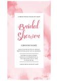 婚礼邀请与水彩花的卡片邀请 免版税库存图片