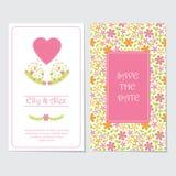 婚礼邀请卡片传染媒介与桃红色花的设计模板和爱为婚姻的明信片塑造 免版税库存图片