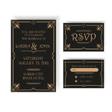 婚礼邀请和RSVP卡片-艺术装饰 免版税库存照片