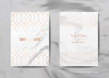 婚礼邀请拟订汇集 保存日期,与时髦大理石纹理背景金子几何艺术装饰的RSVP 皇族释放例证