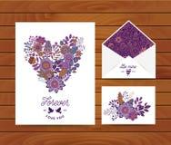 婚礼邀请模板卡片 向量例证