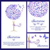 婚礼邀请模板设置了与在蓝色颜色的蝴蝶 皇族释放例证