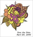 婚礼邀请模板,保存日期卡片 免版税库存图片