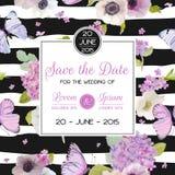 婚礼邀请模板 保存与蝴蝶和八仙花属花的日期卡片 招呼花卉明信片 皇族释放例证