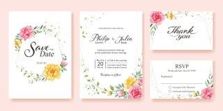 婚礼邀请,保存日期,谢谢,rsvp卡片设计模板 黄色和桃红色花,银元,橄榄色的叶子,蜡 皇族释放例证
