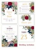 婚礼邀请,保存日期, RSVP卡片,谢谢拟订, T 库存例证