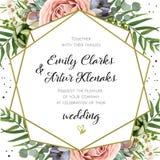 婚礼邀请,花卉邀请卡片设计:桃子淡紫色pi 免版税库存图片