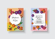 婚礼邀请,花卉邀请感谢您, rsvp现代卡片设计:纸裁减3d花 库存例证
