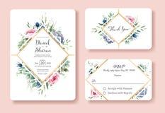 婚礼邀请,谢谢,rsvp卡片设计模板 瑞典的女王/王后起来了花,叶子,多汁植物 向量 库存例证