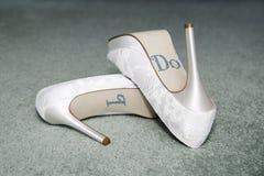 婚礼鞋子-我做衣服饰物之小金属片 库存图片