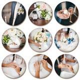 婚礼题材拼贴画组成由在白色后面的不同的图象 免版税库存图片