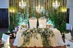 婚礼餐馆装饰 库存图片