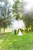 婚礼,爱,关系,婚姻 微笑的新娘和新郎与蓝色烟 图库摄影