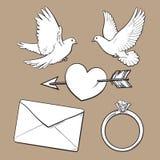 婚礼,订婚象设置了与鸠,心脏,圆环,情书 免版税图库摄影