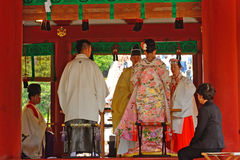 婚礼,镰仓,日本 免版税库存照片