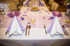 婚礼宴会桌设置 免版税库存图片
