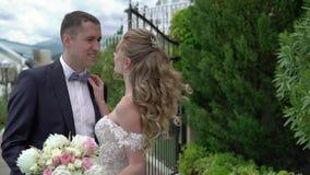 婚纱的年轻美丽的新娘去新郎 新婚佳偶的会议 股票录像