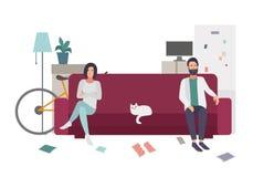 离婚,家庭争吵 在转动远离彼此的长沙发的夫妇 平的五颜六色的例证 向量例证