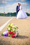 婚姻。接受爱恋的夫妇 免版税库存照片