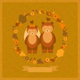 婚姻与熊的传染媒介滑稽的卡片 免版税库存图片