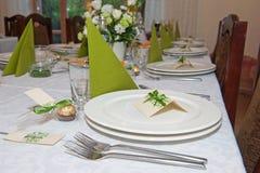结婚宴会桌设置 免版税库存照片