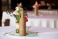 结婚宴会表焦点 免版税图库摄影