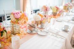 结婚宴会表焦点 免版税库存照片