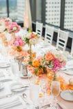 结婚宴会表焦点 免版税库存图片