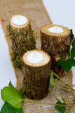 结婚宴会装饰蜡烛 免版税库存照片
