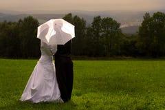 婚姻在伞下 库存照片