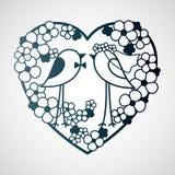 婚姻在花中的两只鸟 免版税图库摄影