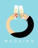 婚姻 手纠缠了,男人和妇女圆环的 饮料香槟 向量例证