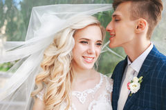 婚姻 新娘和新郎,亲吻在一个美丽的公园在婚礼之日 浪漫已婚夫妇 户外婚姻的夫妇是拥抱 库存照片