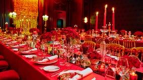 婚姻的或另一个承办宴席的事件的表集合 图库摄影