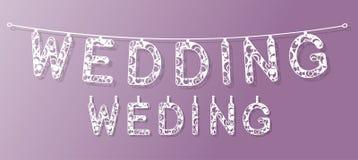 婚姻的横幅装饰 纸和其他材料激光切口  免版税库存照片